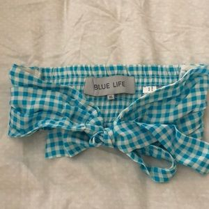 Blue Life tie up bandeau top